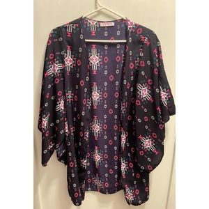 🌸✨Navy & Pink Flowy Open Front Cardigan Small/XS